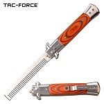 Automatic Push Button Folding Beard Comb Switchblade Knife Wood Handle
