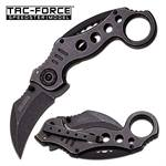 Tac Force 5 Inches Closed Spring Assisted Folder With Stone Wash Stainless Steel Handle