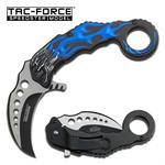 Black Blade Blue Skull Karambit EDC Spring Assisted Folding Knife