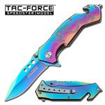 Rainbow Finish Dragon Tactical Rescue Spring Assist Knife
