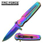 Tac Force Spring Assisted Knife 3.75 Inches With  Rainbow Handle