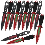 Ninja Mass Grave Martial Arts Steel Practice Throwing Target Knives 12 Piece Set