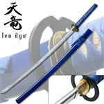 7MM Hand Forged Carbon Steel  Katana W/ Real Ray Skin - Blue