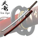7MM Hand Forged Carbon Steel  Katana W/ Real Ray Skin - Red