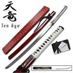 40 Inch Hand Forged Samurai Katana Sword - Red Scabbard