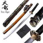 Tenryu Oriental Sword 41 Inches Overall With Black Imitation Ray Skin Handle