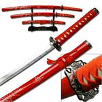 3 Pcs Red Dragon Samurai Sword Set W/ Stand
