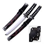 21 Inch Overall Length Red Dragon Design Black Scabbard Samurai Oriental Sword