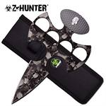 Z Hunter Fantasy Fixed Blade Knuckle Handle Push Dagger Knife - Grey Skull Camo