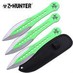 Z Hunter Throwing Knife 3 Pc 7.5 Inches Green Paint Blade