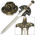 Medieval Barbarian Antiquated Sword With Wall Display Plaque