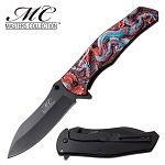 Fantasy Dragon Spring Assisted Opening Pocket Knife Red Blue Dragon