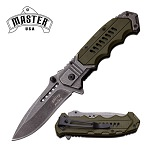 Master USA Ballistic 4.75 Inch Spring Assisted Knife Army Green