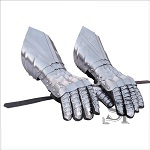 Medieval Polished Knights Riveted Gauntlets