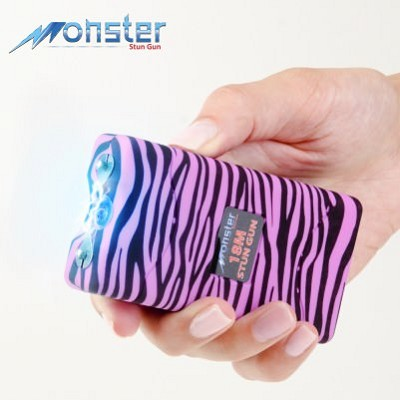 Zebra Pink/Black Monster 18 Million Volt Rechargeable Stun Gun - LED Light