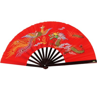 Kung Fu Fighting Fan - Phoenix & Dragon with Red Finish
