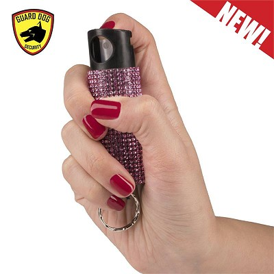 Bling It On Key Ring Self Defense Pepper Spray Pink Jeweled Cary Case