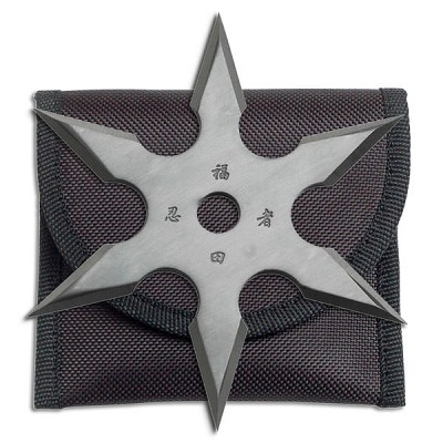 6 Point Grey Titanium Coated Throwing Star with Pouch - 4