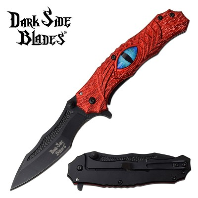 Dark Side Blades Dragon Eye Spring Assisted Pocket Knife Red Handle