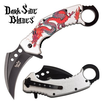 Karambit Knife Spring Assisted Knife Silver Red Dragon Pocket Knife