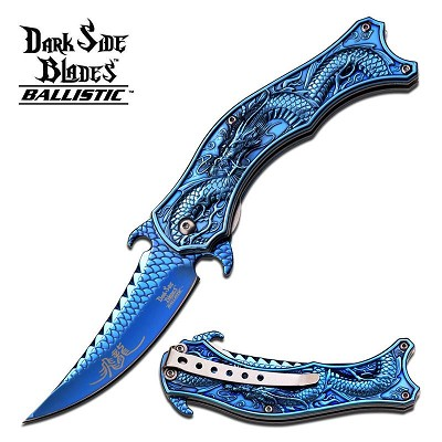 DarkSide Spring Assisted Knife 4.5 Inches Closed With Blue Dragon Handle