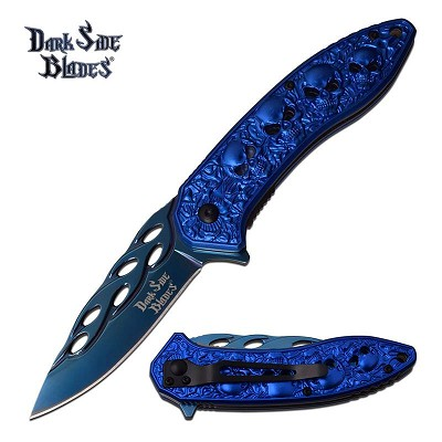 Blue Skull Titanium Nitrite Blade Tactical Spring Assisted Pocket Knife