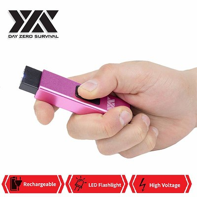 DZS Rechargeable Micro USB Self Defense Pink Stun Gun With LED Light