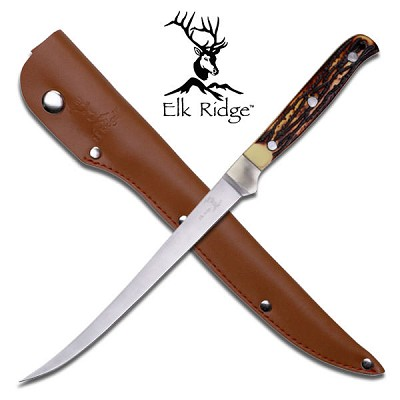 "Fillet Knife 12"" Fixed Blade Bone Handle Full Tang Fishing"