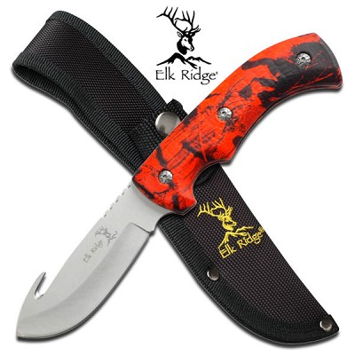 Elk Ridge Fixed Blade Gut Hook Hunting Knife with Red Camo Handle