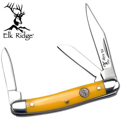 Elk Ridge 3 Bladed Stockman Knife - Yellow