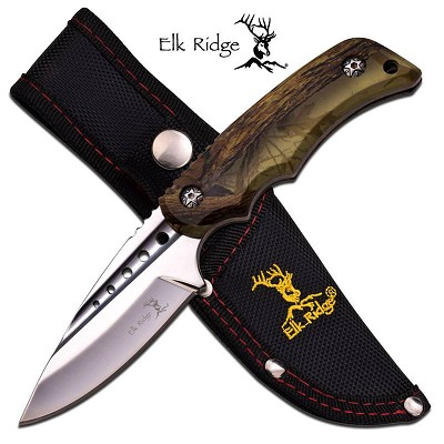 Brown Camo Straight Full Tang Fixed Blade Hunting Skinning Knife