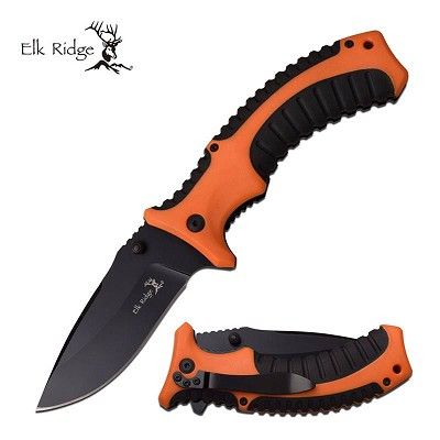 Elk Ridge Spring Assisted Knife Orange & Black Handle Pocket