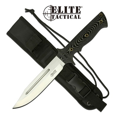 Elite Tactical  Bowie Knife 12 Inch Fixed Blade Knife Micarta Handle