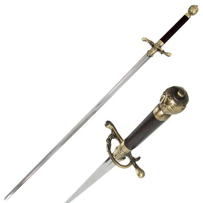 "32"" Modern Fencing Master Tooth Pick Needle Blade Fantasy Sword With Wall Plaque"
