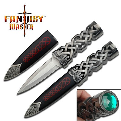 "9"" Celtic Dagger with Emerald Jewel on Pommel"