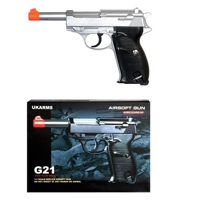 G21 Heavy Weight Spring Pistol P38 Style with Metal Magazine Silver 240 FPS