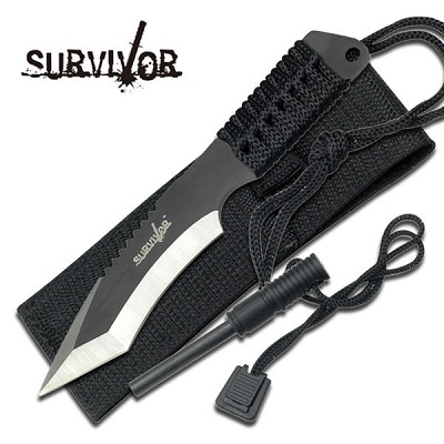 3MM Thick Tanto Blade Survivor Fire Starter Hunting Knife