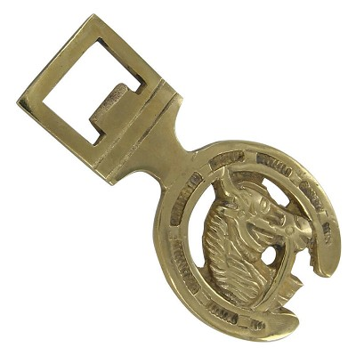 Brass Bottle Opener Horse Head Horseshoe Pattern Unique Collectible Functional
