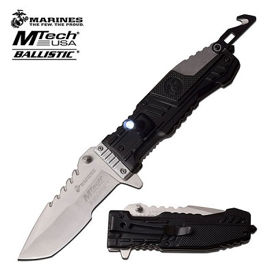 MTech US Marines Tactical Spring Assisted Knife Black with LED Light