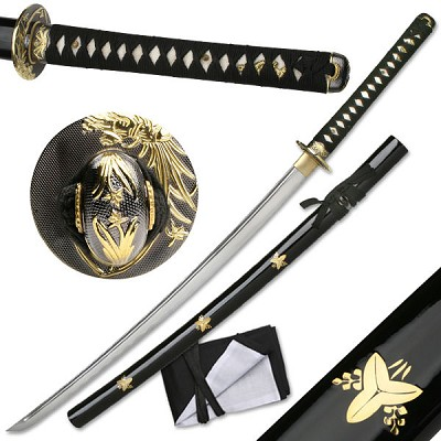Hand Sharpened Carbon Steel Katana with Brass Flowers Inlay Scabbard