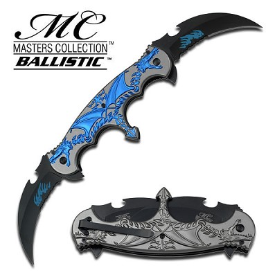 Spring Assist - 'Legal Automatic' Knife - Double Blade Blue Flaming Dragon