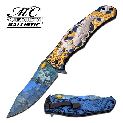 "Medusa Blue 4.75"" Spring Assisted Folding Pocket Knife"
