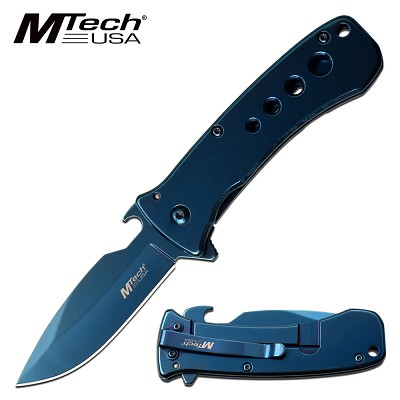 Mtech Spring Assisted Opening Pocket Knife Bottle Opener Blade Blue