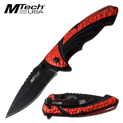 EDC Spring Assisted Pocket Knife Red Aluminum Handle