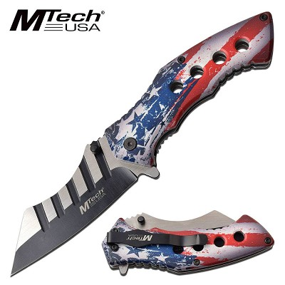 Mtech Cleaver Knife Spring Assisted Knife USA Flag