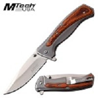 Spring Assisted Brown Pakkawood 8 Inch Length Pocket Knife