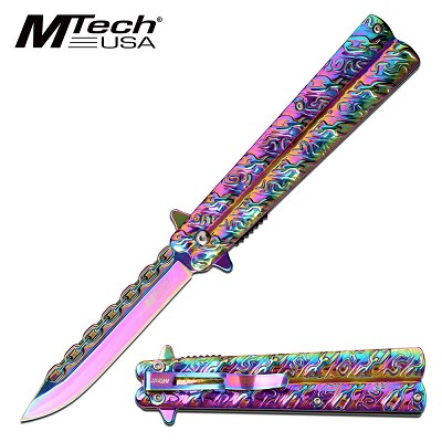 Pocket Knife Chain Style Blade Spring Assisted Knife Rainbow