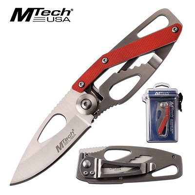 MTech Red G10 Handle Pocket Folding Knife