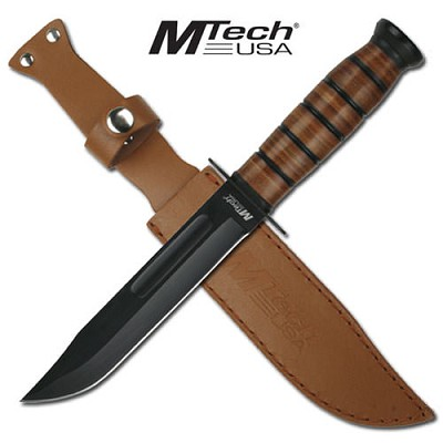 MTech Combat Knife with Stacked Leather Handle