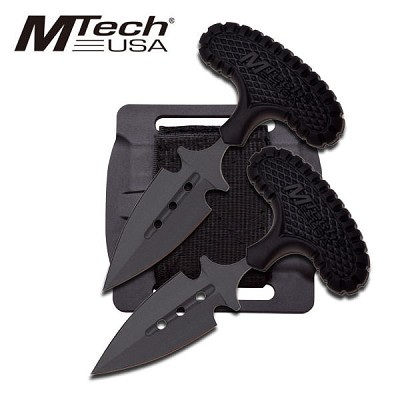 Mtech USA 2 Pc Set Fixed Blade Push Dagger Knife - Black Rubber Handle